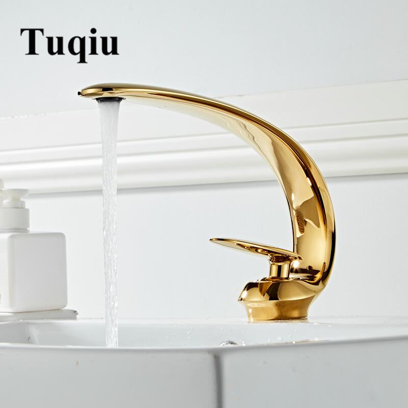 Gold Basin Faucet Modern Bathroom Sink Mixer Tap Brass Wash basin Faucet Single Handle Single Hole Crane For Bathroom-in Basin Faucets from Home Improvement    1