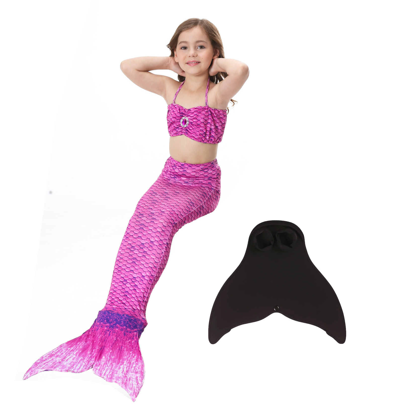 New Fashion Infantil Fuchsia Yellow Pink Blue Red Bikini + Mermaid Tail Kids Swimwear 6t 8t 10 12 Years Girls Swimsuit