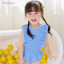 2019 New Model baby Girls Swimsuit Stripe Frill one piece swimwear kids Children Swimming wear swim Suit Swimsuit bathing suits недорго, оригинальная цена