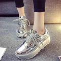 Platform Shining Patent Leather Women Shoes Flats 2017 Spring Fall Casual Lady Shoes Comfort Lace Up Solid Women Trainers WSN544