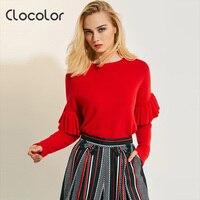 Clocolor Women Sweater Ruffle Falbala Causal Loose Top Pullover Slim Plain Solid Female Fall Outwears 2017