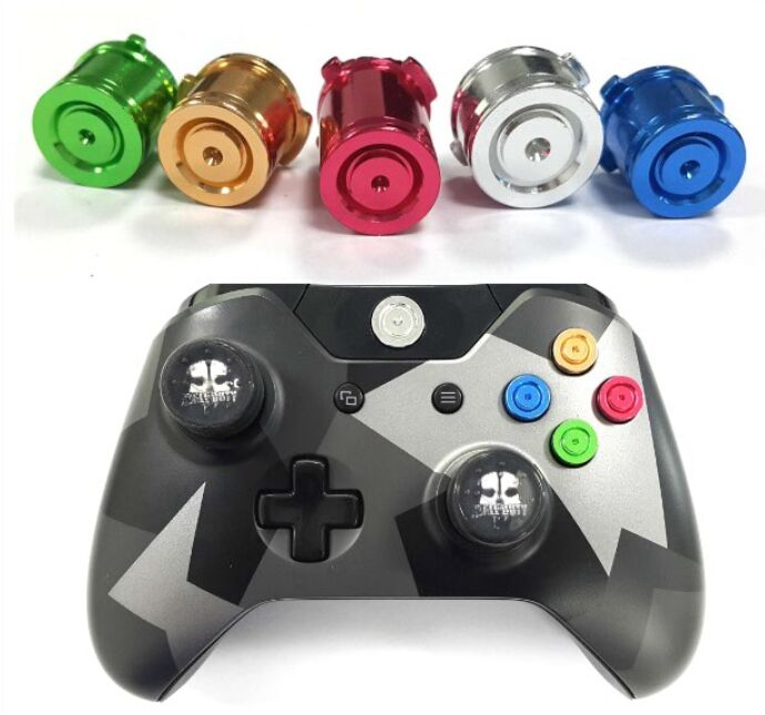 For Xbox One Slim Elite Game Controller ABXY&Guide Button Chrome Aluminum  Metal Colorful Bullet Buttons Replacement accessories
