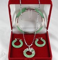 Gratis verzending. 263 echt Natuurlijke groene draak hanger oorbellen armband set