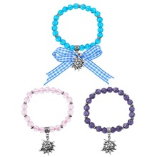 1Set/3PCs Edelweiss Charm Bracelet Transparent Beaded Bracelets