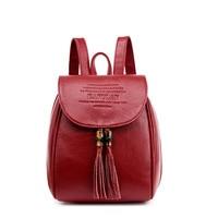 Korean Women Leather Backpack Tassel Bag Backpack School Bag For Teenage Girls Mochila Feminina Rucksack Vintage