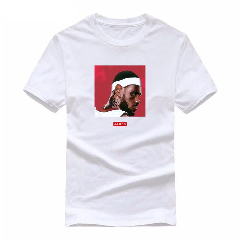 Brand Fashion Hip Hop White T-shirt Men 2018 King Lebron James Print Basket ball Jersey Cool Tees