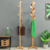 Hot 100% Natural bamboo coat rack Fashionable design style 9 hooks wooden furniture living room furniture living room decoration