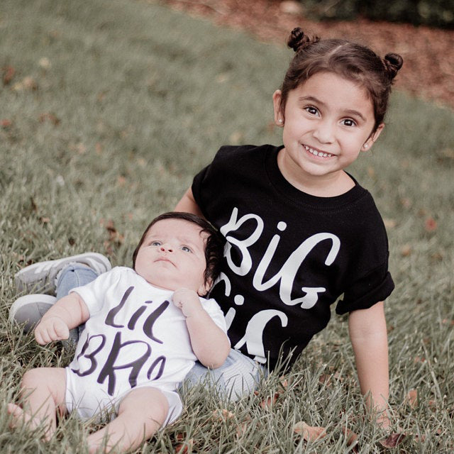 Big Sister Shirt & Little Brother Bodysuit Family Matching Summer T-shirt Big Sis & Lil Bro Girl Tees Newborn Toddler Romper
