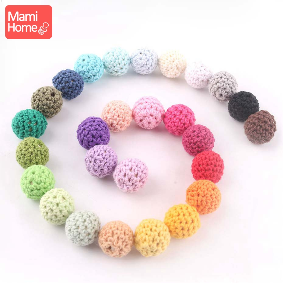 Mamihome 16mm 10PC Crochet Beads Wooden Teether Cotton Thread For DIY Making Necklace Bracelet Wooden Blank Children'S Goods Toy