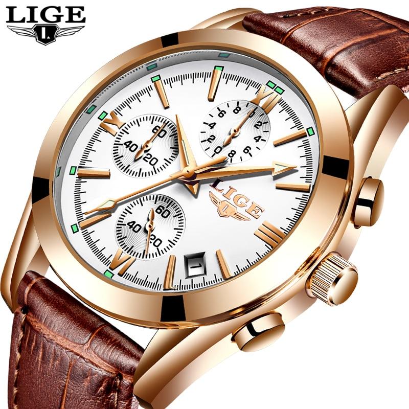 Relogio Masculion LIGE Men Top Luxury Brand Military Sport Watches Men's Quartz Clock Male Leather Casual Business WristWatch