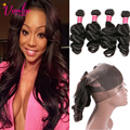 7A Peruvian Loose Wave Virgin Hair With 360 Lace Frontal With Bundle Brown Loose Curly Human Hair Weave With 360 Frontal Closure