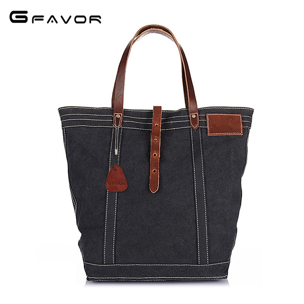 Handbag Mutli-Functional Canvas Single Shoulder Bags With Crazy Horse Leather Top-Handle Bag
