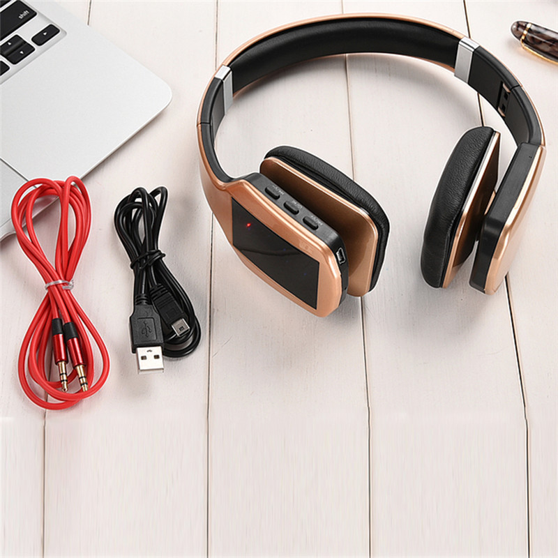 Headset Bluetooth Earphone Wireless Bluetooth Stereo Headphones with Microphone FM Radio TF Card for Computer Phone Sports image