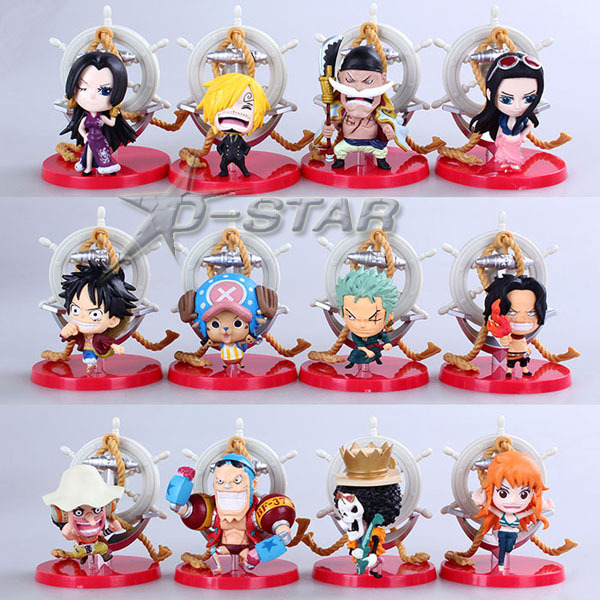 Free Shipping Cute 12pcs Mini One Piece Anime Soldier Set Boxed PVC Action Figures Model Collection Toy Gift (12pcs per set) free shipping 4 pieces lot cute mini high imitation cats model set pusheen neko atsume car decoration hand made toy craft gift