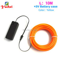 5 0mm 10 Meters Yellow EL Wire Lexible Neon Glow Light By DC 3V Inverter For