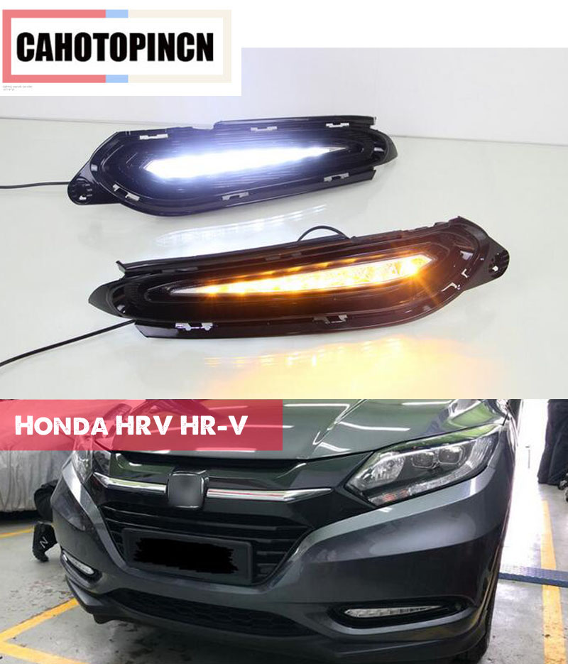 Waterproof 12V LED Car DRL Daytime Running Light with yellow turn signal style relay For Honda