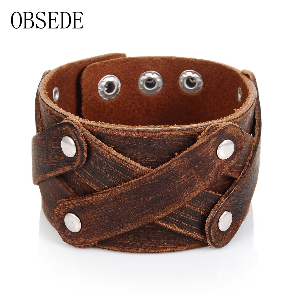 Obsede Fashion Charm Men Jewelry Genuine Leather Bracelet Men Vintage Wide Cuff  Bracelets & Bangles Punk