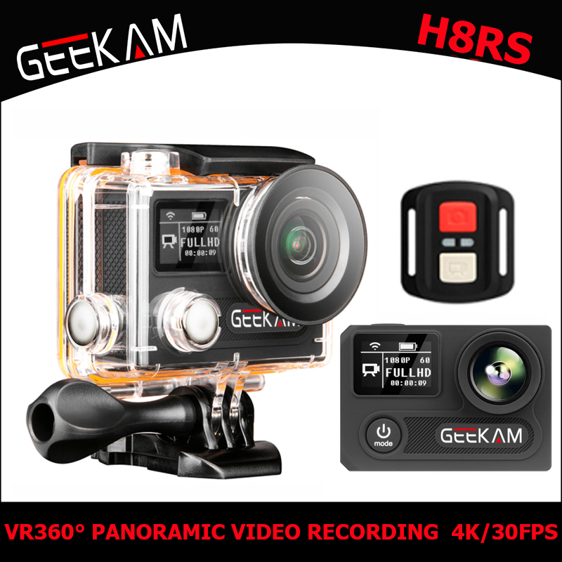 GEEKAM H8RS Action Camera Ultra HD 4K WIFI Sport 360VR 1080P  2 LCD 170D Wide-angle Waterproof Helmet Cam MINI Camcorder gift attention mini waterproof action camera dv 126 170d viewing angle full hd 1080p wifi remote control fantastic sport camera