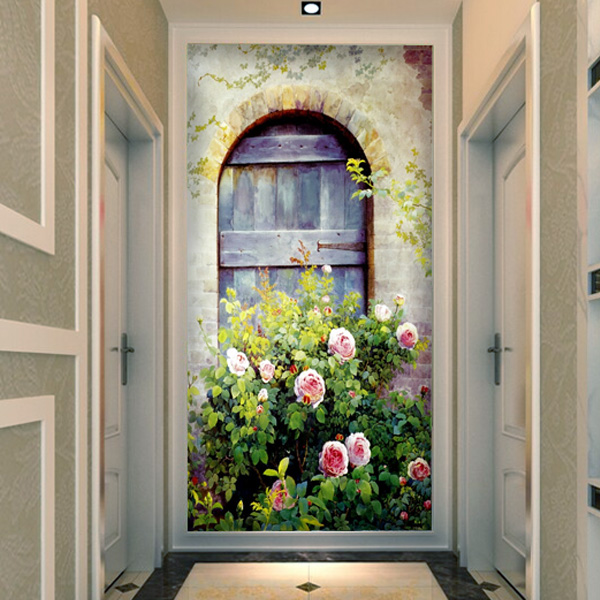 Online get cheap door wallpaper mural for Door mural wallpaper