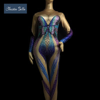 Christia Bella Fashion Butterfly Rhinestone Sexy Body Suit Women Nude Stretch Skinny Jumpsuits Stage Wear Pole Dance Costumes