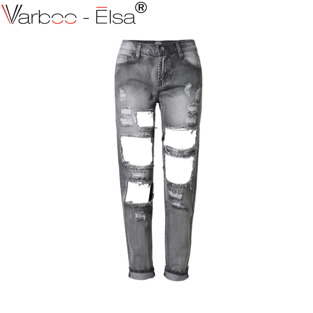 f48bef60 VARBOO_ELSA broken hole beggar style jean Trousers fashion BF style gray jeans  2017 summer new women casual loose denim trousers