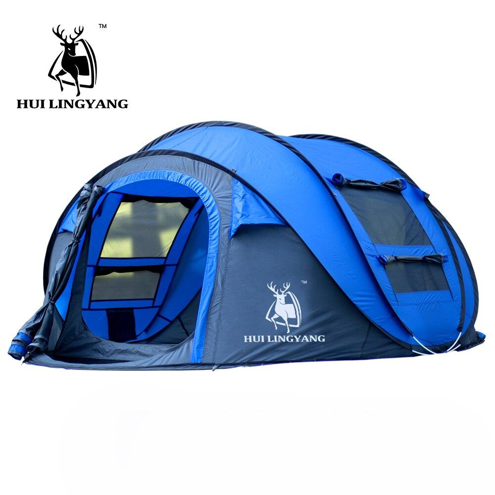 Grand lancer tente en plein air 3-4persons automatique vitesse ouvert jeter pop up coupe-vent étanche plage camping tente grand espace - 2