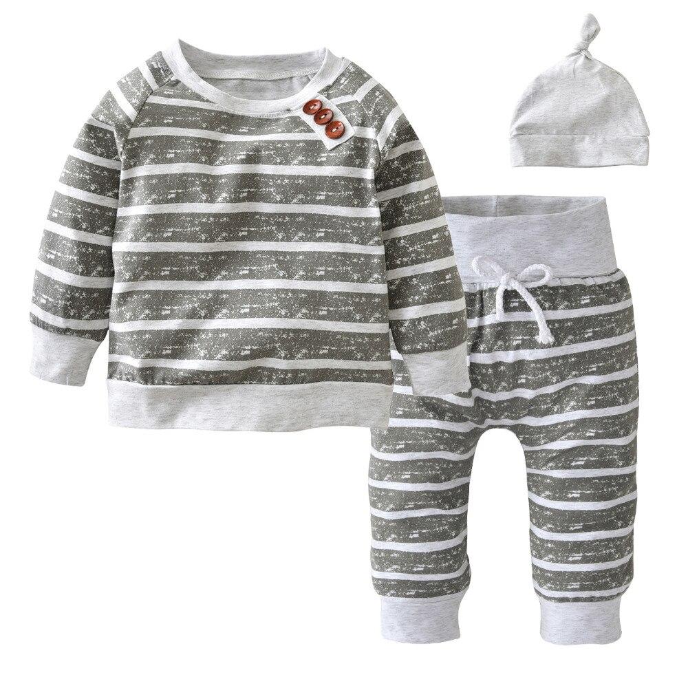 3Pcs/Set Baby Clothing Sets 2017 Autumn Baby Boys Clothes Infant Striped T-shirt+Pants+Hat Kids Outfits Toddler Suit