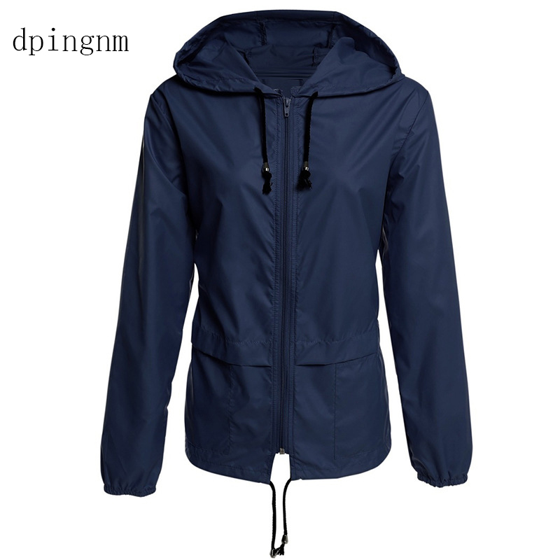 Black Windbreak   Jacket   Women Long Sleeve Hooded Coats Spring Autumn Casual   Basic     Jackets   Plus Size 3xl for Women WJ0171