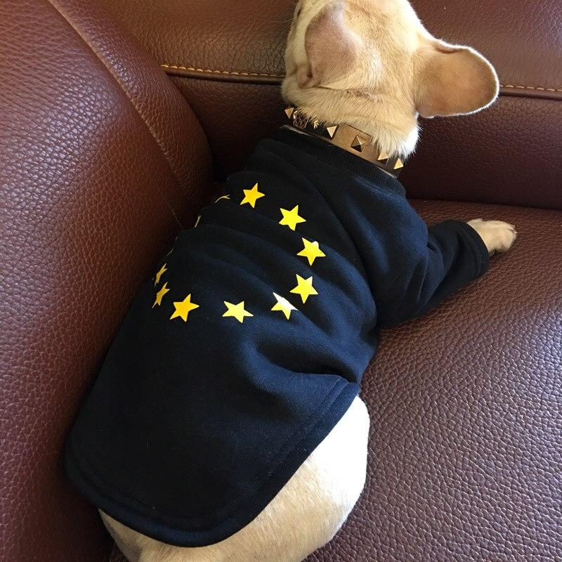 Novelty Stars Pet Dog Clothes Puppy French Bulldog Sweatshirt Warm Dog Sportwear Baseball Jacket Fleece Coat roupa cachorro XQ26