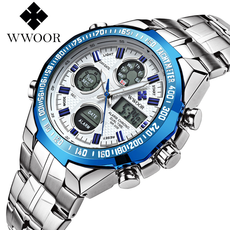 WWOOR Men Quartz Watch Top Brand Luxury Waterproof Men Sports Led Digital Watches Clock Male Steel Army Military Wrist Watches