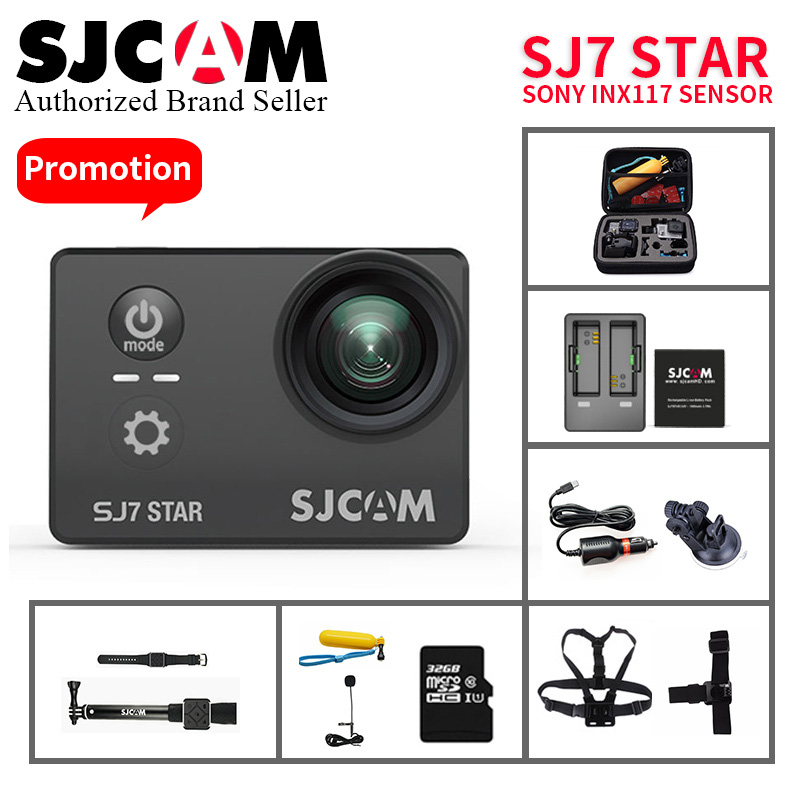 Original SJCAM SJ7 Star Ultra HD 4 K yi caméra d'action 2''écran tactile télécommande go étanche pro vidéo camara vs sj8 pro