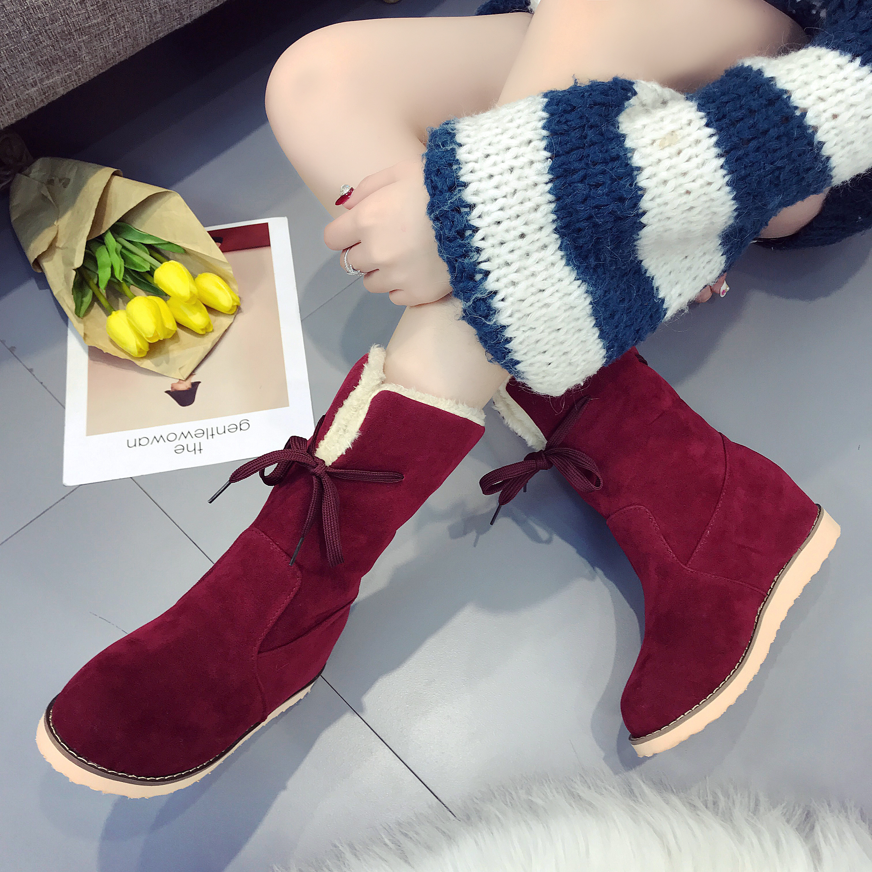 Big Size 41 42 Winter Women Snow Boots Middle Cylinder Warm Mid Calf Women Boots Plus Velvet Fashion Shoes Flock Flat With Fur цены онлайн
