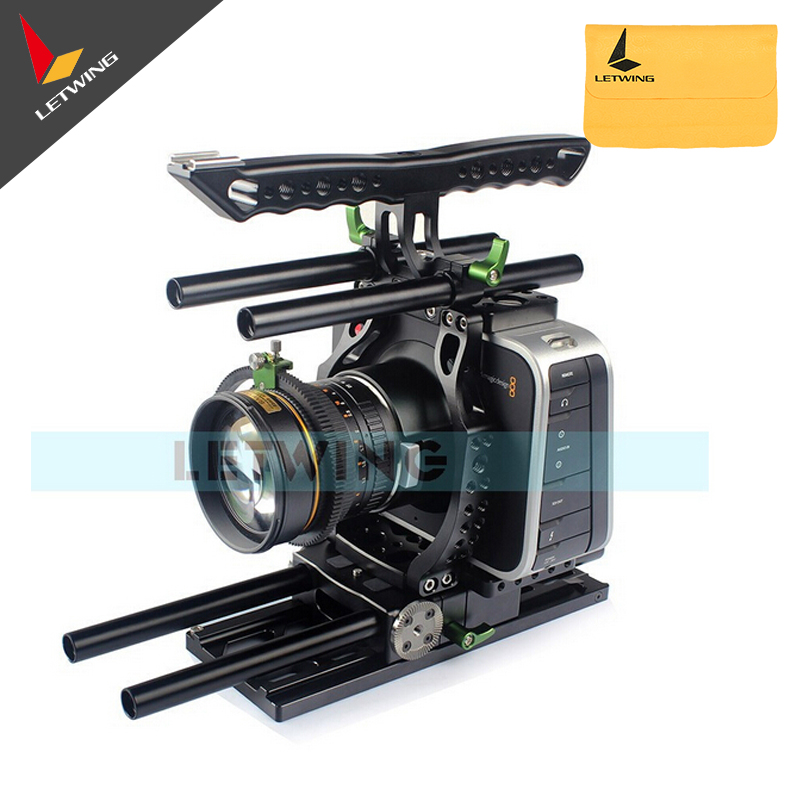 Lanparte BlackMagic Camera Cage Kit BMCC DSLR Rig with Dovetail Baseplate Handle 15mm Rod Magic Arm aluminum dslr camera cage kit support for canon 5d mark ii 7d 60d 15mm rod rig