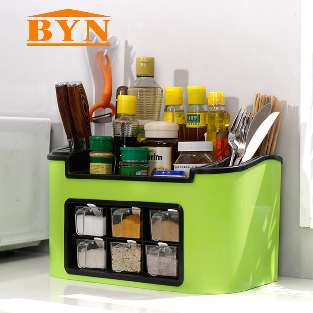 BYN plástico cocina especia estante multifuncional vajilla almacenamiento  contenedor inferior deslizable cajón organizador DQ9079 b52ec7ba4006