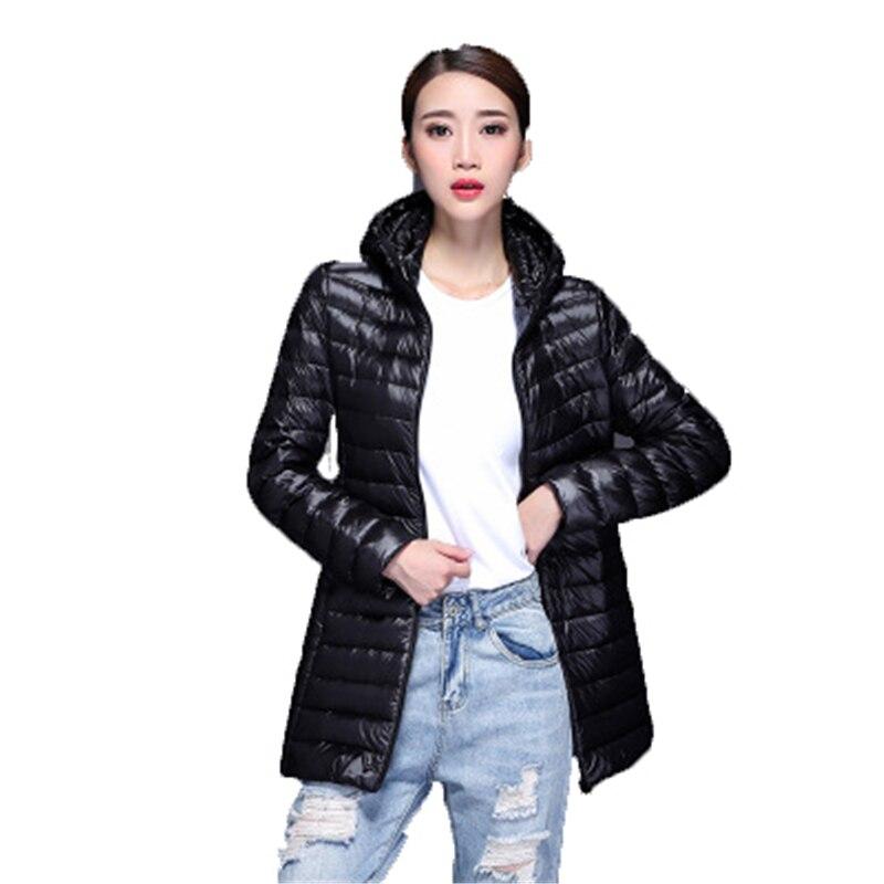 2018 New Winter Big Sze Women Ultra Light   Down   Jackets Warm Female   Down   Parkas Long   Coat   Women Jacket Loose   Down     Coat   HoodedJ762