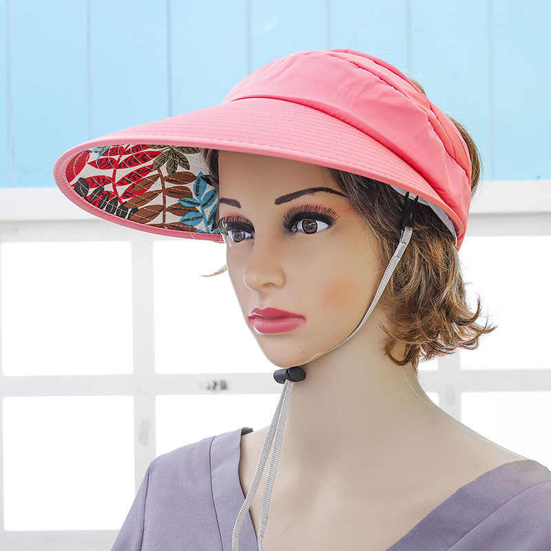 abef827ea 2018 Hot 1PCS Women Summer Sun Hats Pearl Packable Sun Visor Hat With Big  Heads Wide Brim Beach Hat UV Protection Female Cap