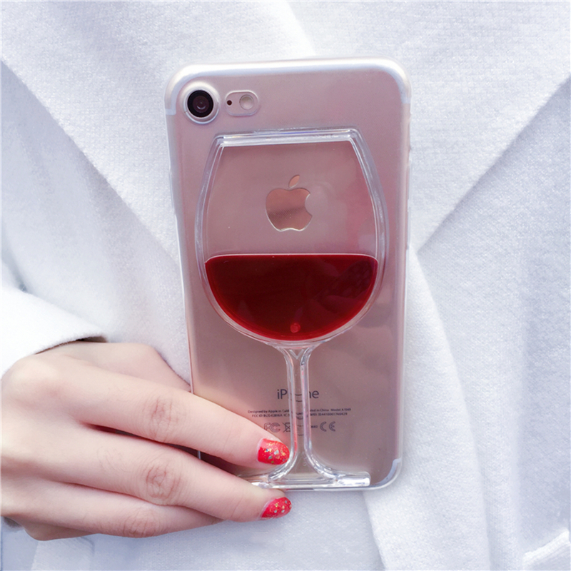 Hot Luxury Liquid Quicksand Transparent Red Wine Glass Phone Case Hard Back Cover For iPhone 5 5S SE 6 6S 7 8 Plus X 10 Housing marvel glass iphone case