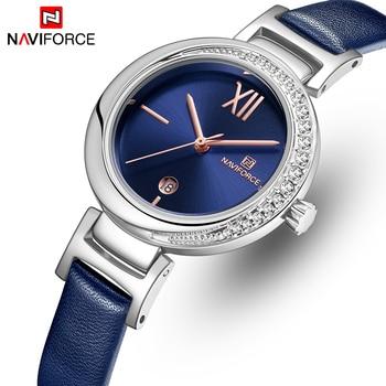 NAVIFORCE 5007 Women Watches Top Brand Luxury Female Simple Leather Watch Ladies Fashion Waterproof Quartz Wrist Watch with box