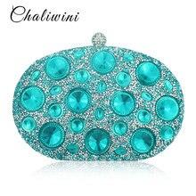 ФОТО chaliwini giant light blue rhinestones women evening bags metal minaudiere wedding party crystal clutch handbag purse formal bag