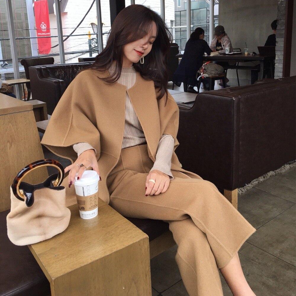2018 женский Осень Зима шерсть пальто брюки костюм для женщин комплект из двух предметов длинное пальто Винтаж повседневные брюки костюм