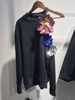 WISHBOP NEW 2017 Luxury Designer Woman Fashion Sweatshirt with Sequined Flowers Appliques Cut Out One Shoulder Long Sleeves TOP