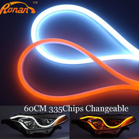 Free Shipping 2pcs Lot 60CM Yellow And White Flexible Headlight Switchback Light Strip Tube Style Angel
