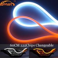 Free Shipping 2pcs Lot 60CM Yellow And White Flexible Headlight Switchback Light Strip Tube Style Angel