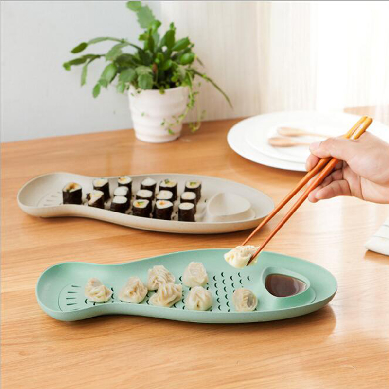 Wheat Straw Fish Shaped Dumpling Plate Creative Dumpling Dishes With Vinegar Dish Sushi Plate Drain Pan