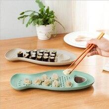 Weizen Stroh Fisch Geformt Knödel Platte Kreativen Knödel Gerichte Mit Essig Schüssel Sushi Platte Auffangwanne 165g