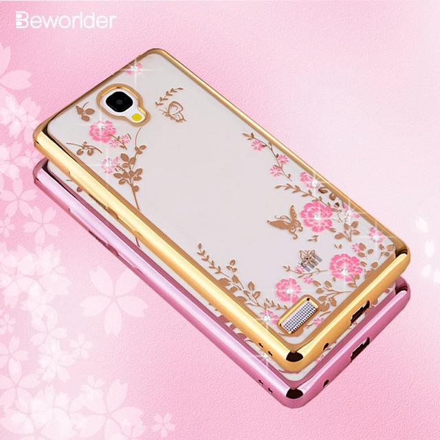 finest selection 6e92c 633e7 US $2.7 30% OFF|Beworlder For Xiaomi Redmi Note 1S Case Gold Plating  Glitter Rhinestone Soft TPU Silicone Phone Case Transparent Back Cover-in  ...