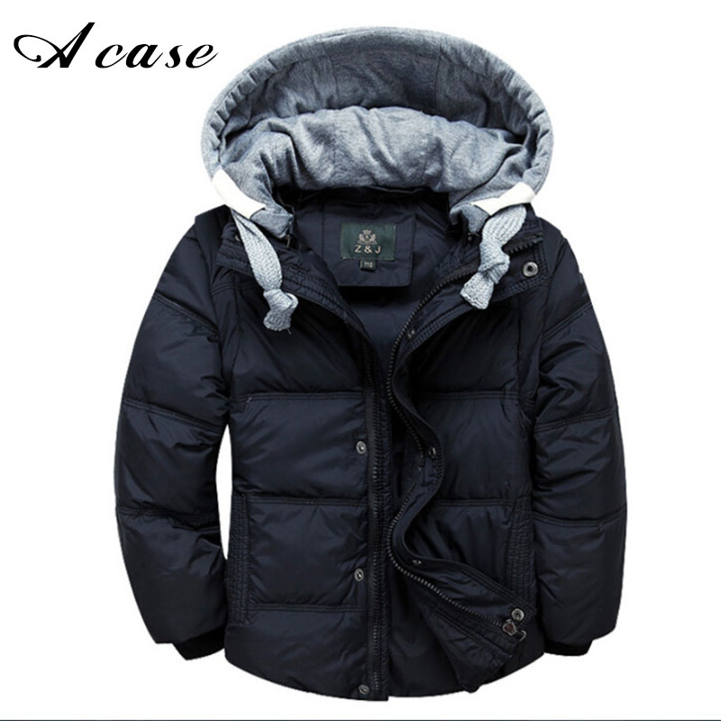 2017 Winter Children Boys Down Jacket Coat Fashion Hooded Thick Solid Warm Coat Kid Boy Clothing Outwear for 4-13 Years 6 Colors 2016 fashion boys winter jacket new design thick warm single breasted hooded outwear kids children clothes boys coat for 2 8year