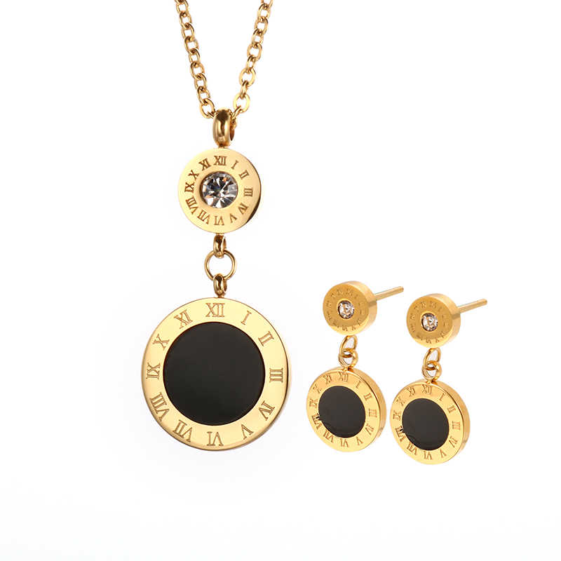 Fashion Double Round Earrings Pendant Necklace Jewelry Gold Color Roman Numeral Design Stainless Steel Jewelry for Women