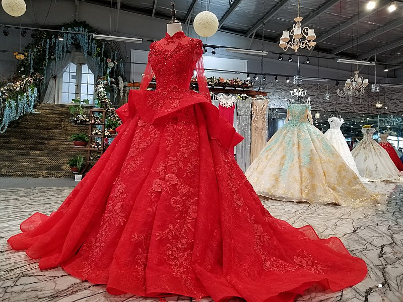 Image 3 - LS0993 red high neck brides wedding party dresses long tulle sleeve lace up back beauty cheap evening dress real price as photosEvening Dresses   -