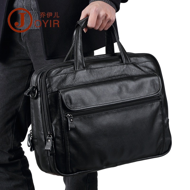 100% Natural Cow Leather Business Briefcase Genuine Leather Shoulder Bags Big Volume 15 Inch Laptop Bag 3 Layers Men Handbags